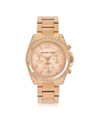 Michael Kors | Metallic Rose Golden Stainless Steel Blair Chronograph Glitz Women's Watch | Lyst