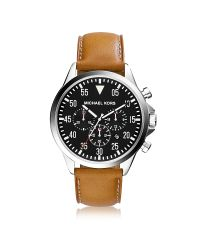 Michael Kors - Brown Gage Leather Chronograph Watch for Men - Lyst