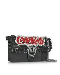 Pinko - Love Anello Black Leather Shoulder Bag - Lyst