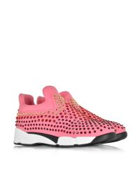 Pinko Gem Turbine Pink Neoprene W/red Strass Sneaker