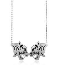 KENZO - Metallic Rhodium Silver And Black Lacquer Fighting Tiger Necklace - Lyst