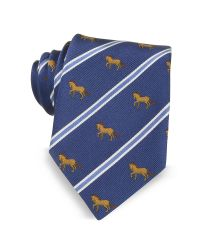 Marina D'este - Blue Riding Horse Woven Silk Tie for Men - Lyst