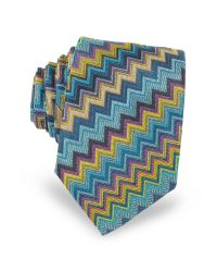 Missoni | Blue Diagonal Zig Zag Woven Silk Men's Narrow Tie for Men | Lyst