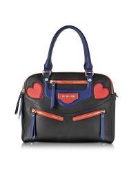Love Moschino | Black Heart Bike Eco Leather Large Satchel Bag | Lyst