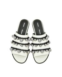 Proenza Schouler - Black White Leather Open Toe Pom Pom Crochet Slide - Lyst