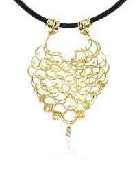Orlando Orlandini | Metallic Scintille - Diamond Drop 18k Yellow Gold Net Necklace | Lyst