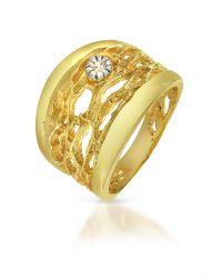 Orlando Orlandini | Metallic Diamond Open-work 18k Yellow Gold Band Ring | Lyst