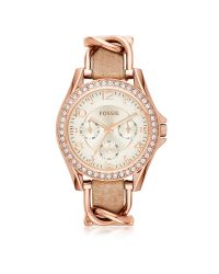 Fossil | Metallic Riley Rose Gold Tone Stainless Steel Case And Nude Leather Strap Women's Watch | Lyst