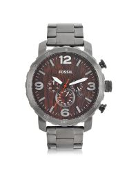 Fossil | Multicolor Nate Smoke Stainless Steel Chronograph Watch for Men | Lyst