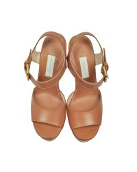 L'Autre Chose - Brown Apricot Leather Wedge Sandal - Lyst