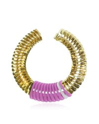 Pluma | Purple Gold, Pink And White Fishbone Necklace | Lyst