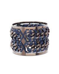 Pluma | Metallic Gunmetal Brass And Navy Blue Leather Large Bangle In Fumoso | Lyst