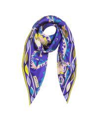 Emilio Pucci | Blue And Yellow Silk Ranuncoli Print Square Scarf | Lyst