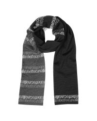 Roberto Cavalli - Black Signature Double Face Wool Blend Men's Scarf for Men - Lyst