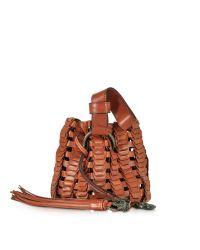 Roberto Cavalli | Brown Mini Rust Woven Leather Bucket Bag | Lyst