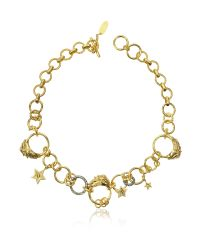 Roberto Cavalli | Metallic Circus Golden Metal Necklace W/crystals | Lyst