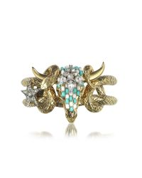 Roberto Cavalli | Metallic Goldtone Brass Bangle W/crystals And Beads | Lyst