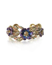 Roberto Cavalli | Metallic Goldtone Brass Bangle W/crystals And Flower | Lyst