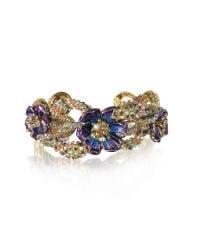 Roberto Cavalli | Metallic Goldtone Brass Bangle W/crystals And Flower | Lyst