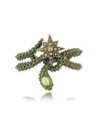Roberto Cavalli | Snake Star Bracelet W/green Stone | Lyst