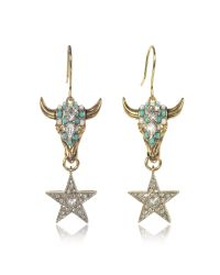 Roberto Cavalli - Metallic Goldtone Brass Earrings W/crystals And Mint Green Beads - Lyst