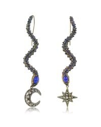 Roberto Cavalli | Snake Metal And Blue Stone Earrings | Lyst