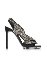 Roberto Cavalli | Black Suede And Crystals Panther Sandal | Lyst
