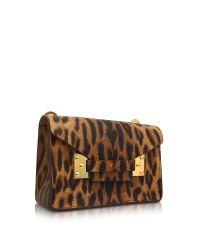Sophie Hulme - Brown Leopard Print Milner Nano Clutch W/shoulder Strap - Lyst