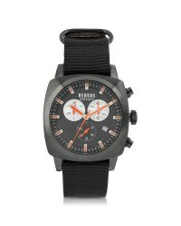 Versus | Riverdale Black Plate Stainless Steel And Canvas Strap Men's Watch for Men | Lyst