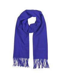 Moschino | Blue Solid Wool Signature Long Scarf W/fringe | Lyst