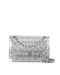 Moschino - Pink Silver Metallic Leather Shoulder Bag - Lyst