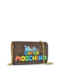 Moschino - Brown Super Mario Multicolor Printed Wallet Clutch W/chain Strap - Lyst