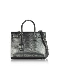 Saint Laurent | Black Laminated Croco Embossed Leather Classic Baby Sac De Jour Bag | Lyst