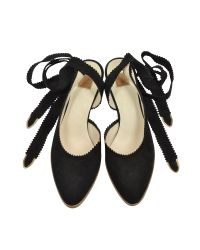 Zoe Lee - Brown Oberline Black Suede Ankle Wrap Shoe - Lyst