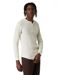 Frank + Oak | Long Sleeve Waffle Knit Henley In Off-white Heather for Men | Lyst
