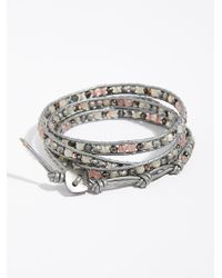 Free People - Gray Shimmer Wrap Bracelet - Lyst