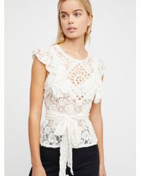 Free People - White Celeste Lace Top - Lyst