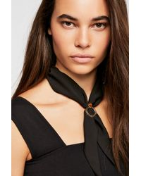 Free People - Black In The Loop Scarf Necklace - Lyst