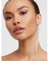 Free People - White Lone Feather Earring - Lyst