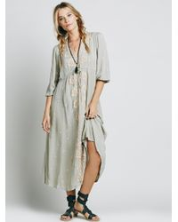 Free People | Green Embroidered Fable Dress | Lyst