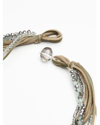 Free People - Green Leather X Raw Stone Bolo Necklace - Lyst