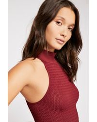 Free People - Red Keep Us Together Mock Neck Top By Intimately - Lyst