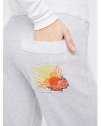 Free People - Gray Savannah Sunray Embroidered Sweatpants - Lyst