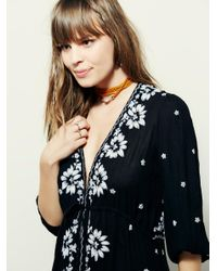 Free People - Black Embroidered Fable Dress - Lyst