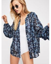 Free People - Blue Take Me Out Printed Buttondown - Lyst