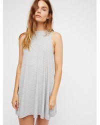 Free People - Gray Mock Me Mini Dress - Lyst