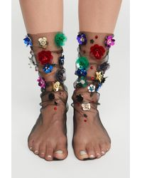 Free People - Black Floral Tulle Anklet - Lyst