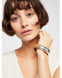 Free People - Metallic Wood Metal Bangle - Lyst
