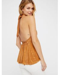 Free People - Brown We The Free Fast Lane Halter Top - Lyst