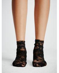 Free People - Black Smitten Lace Sock - Lyst